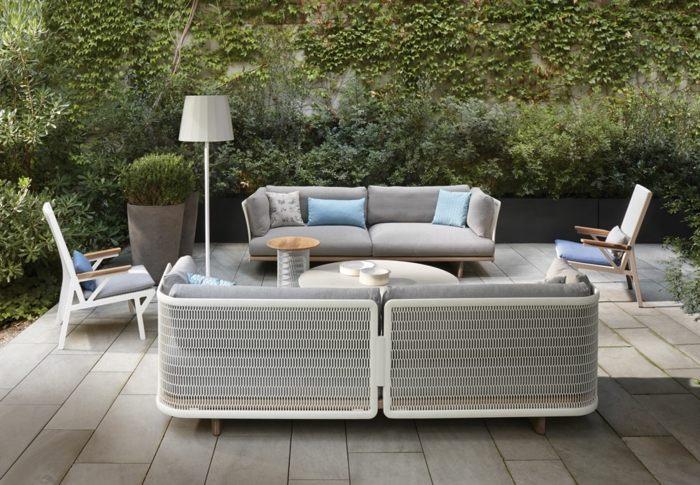 jardines verticales blanco cojines modernos