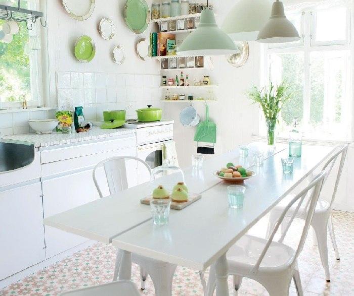 la primavera cocina blanca toques verde ideas