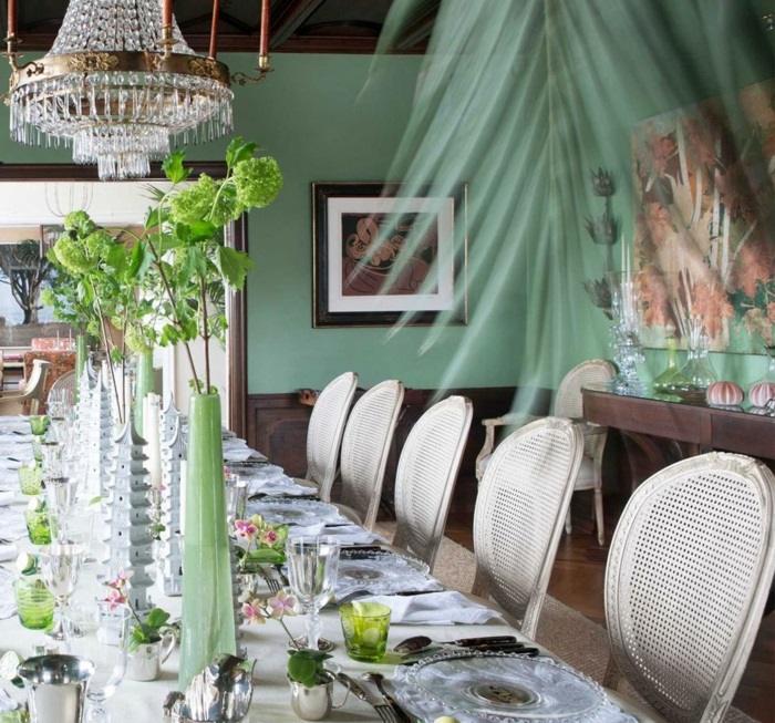 la primavera paredes color verde plantas comedor mesa ideas