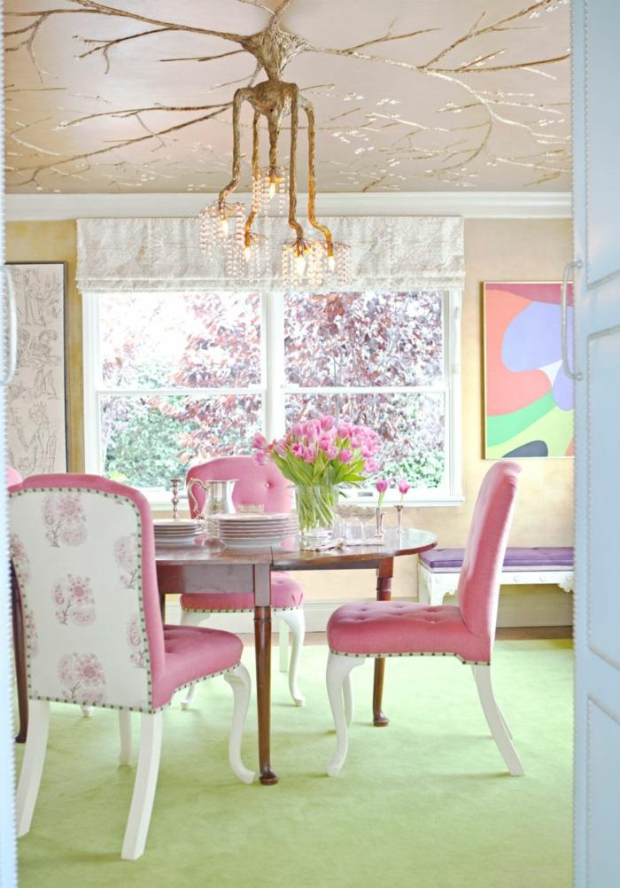 la primavera sillas color rosa flores ideas