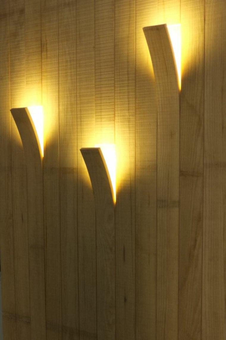 laminas madera pared iluminacion opciones ideas - Lamparas De Madera