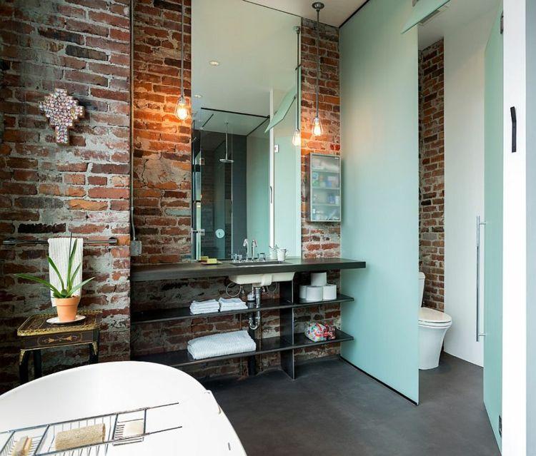 lamparas bano acentuan pared madera ladrillo expuesta ideas