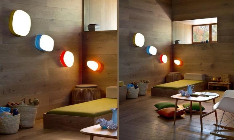 lamparas de pared coloridas originales ideas
