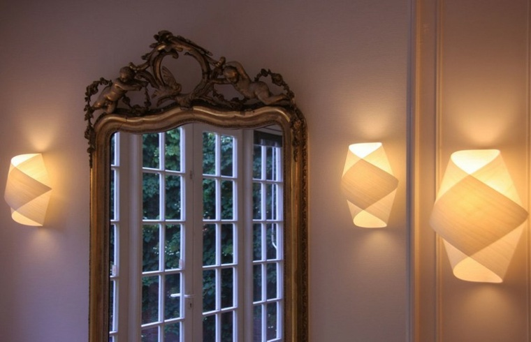 Lamparas de pared 50 dise os naturales de madera - Lamparas para espejos ...