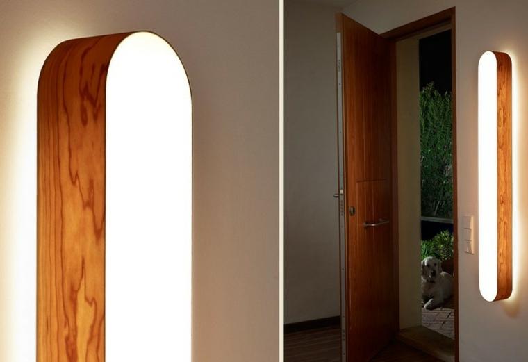 Lamparas de pared 50 dise os naturales de madera - Diseno de paredes ...