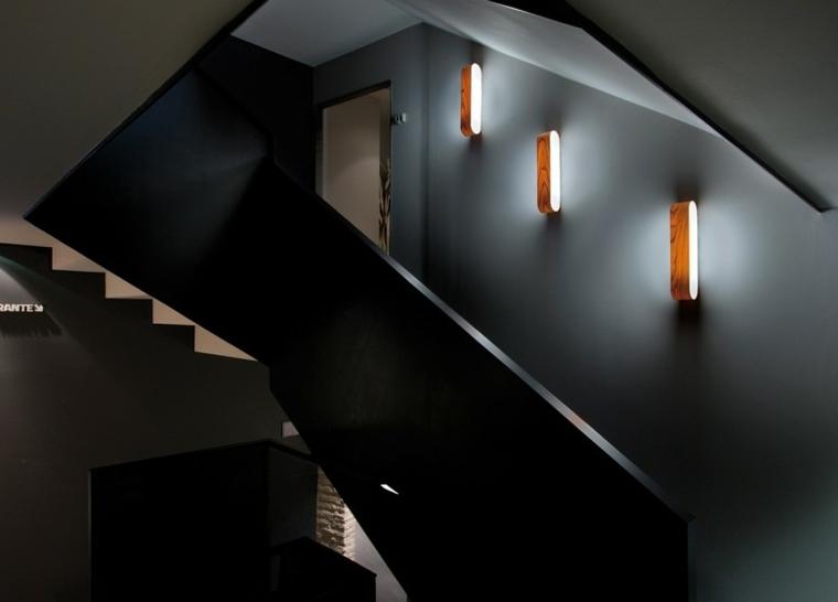 Lamparas de pared 50 dise os naturales de madera - Iluminacion escaleras interiores ...