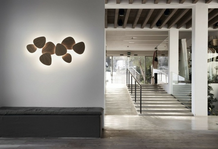 lamparas pared petalos madera luminosos ideas