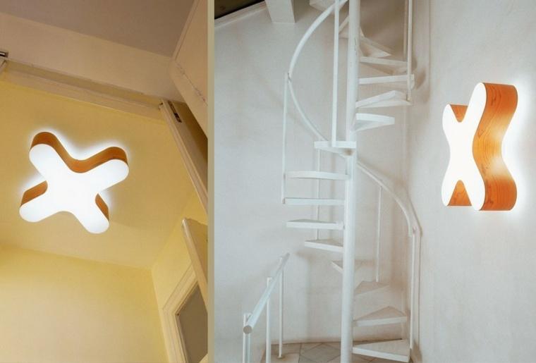 lamparas pared techo madera forma original ideas