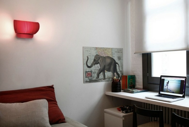 lamparas pared diseno forma original roja ideas