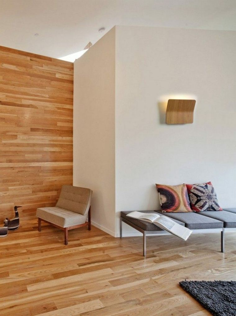 lamparas pared diseno salon pared madera ideas