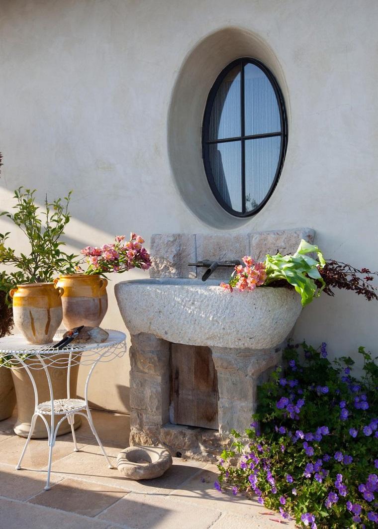 lavabo diseno rustico jardin exteriores ideas