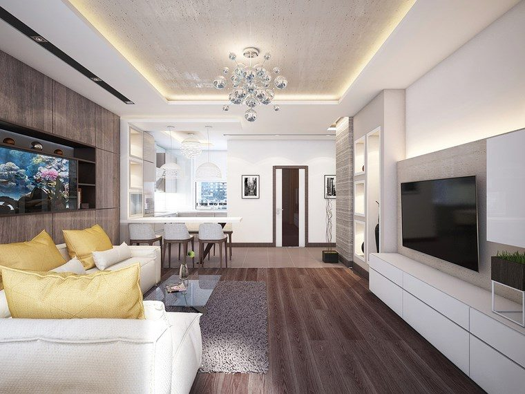 led opciones interiores pared muebles blancos salon ideas