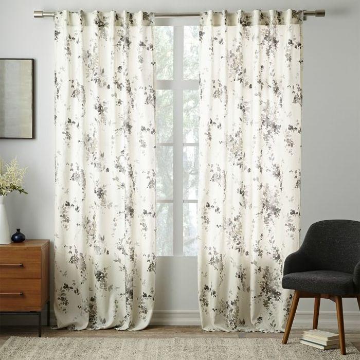 lino belgico cortinas ramo flores estampa ideas
