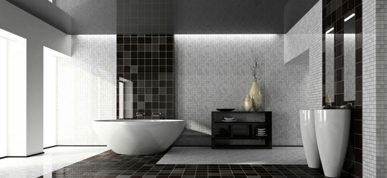 losas negras mosaico blanco bano moderno ideas