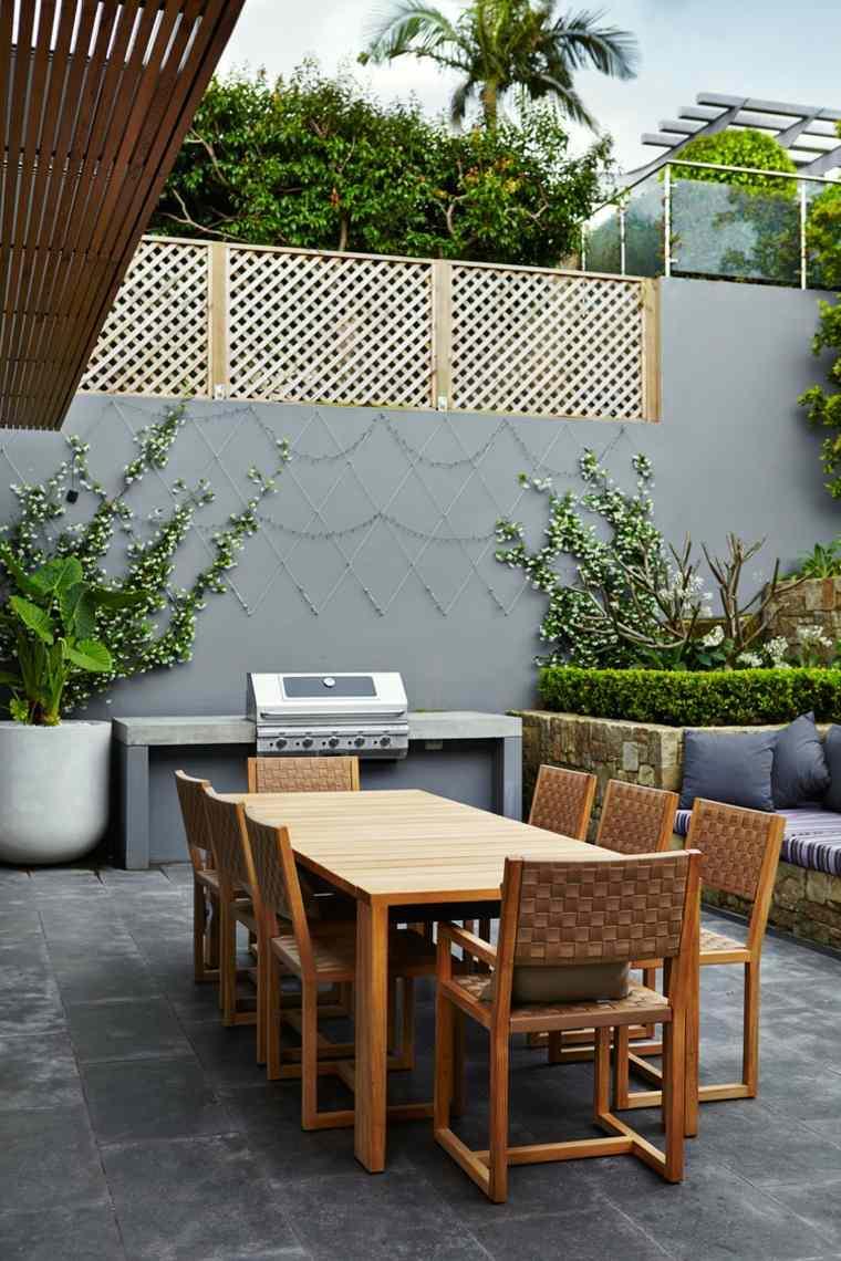 lugar comidas mesa madera barbacoa jardin ideas
