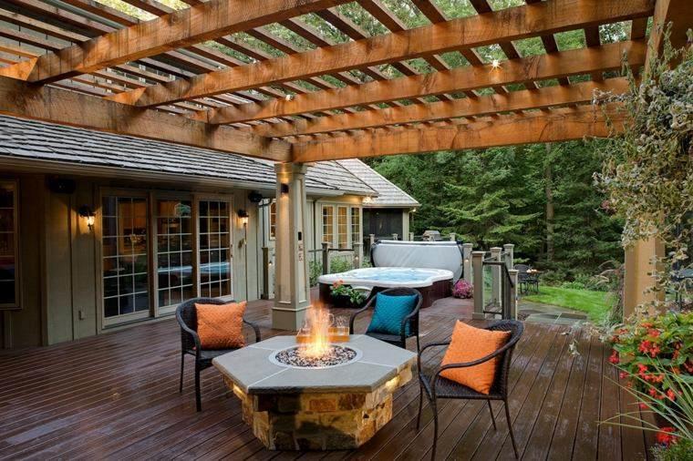 lugar fuego jardin pergola madera ideas
