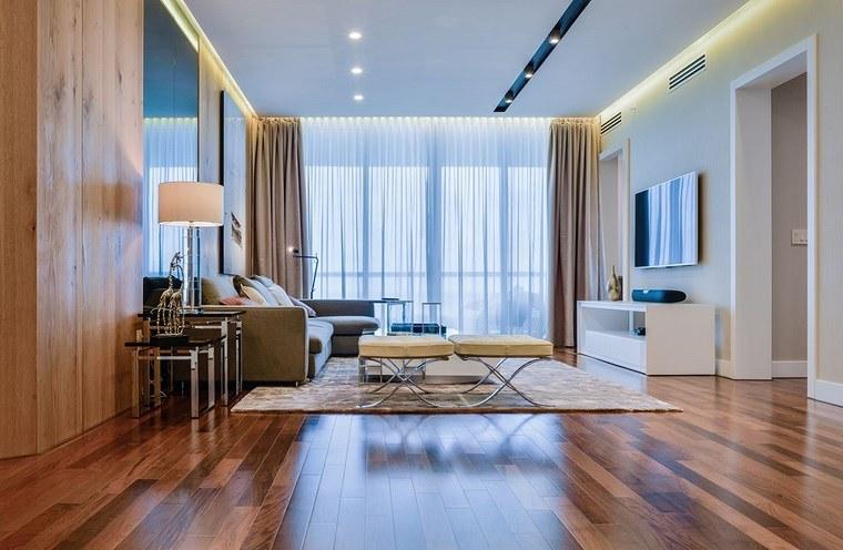 luz LED opciones interiores suelo madera salon ideas