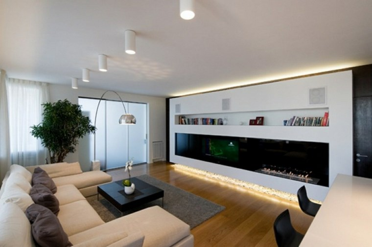 luz led opciones interiores blanco negro salon ideas