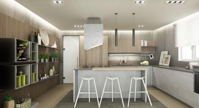 luz led opciones interiores cocina taburetes blancos ideas