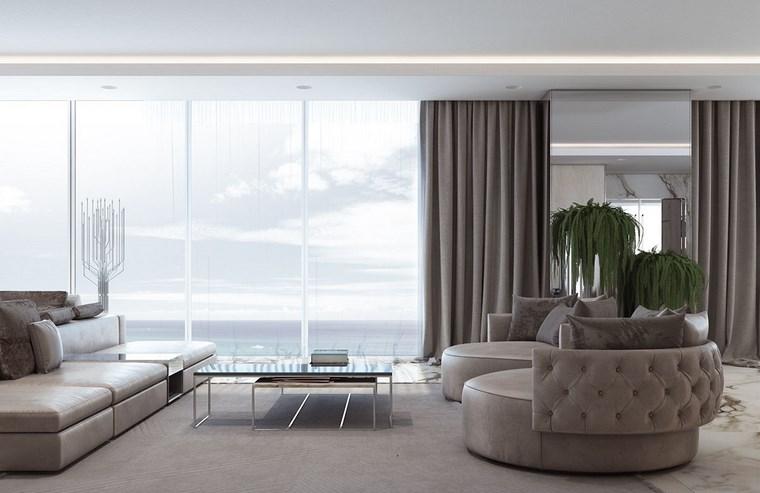 luz led opciones interiores salon muebles modernos grices ideas