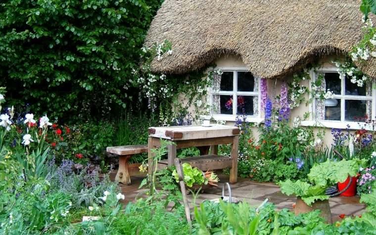 mesa banco madera plantas casa jardin ideas