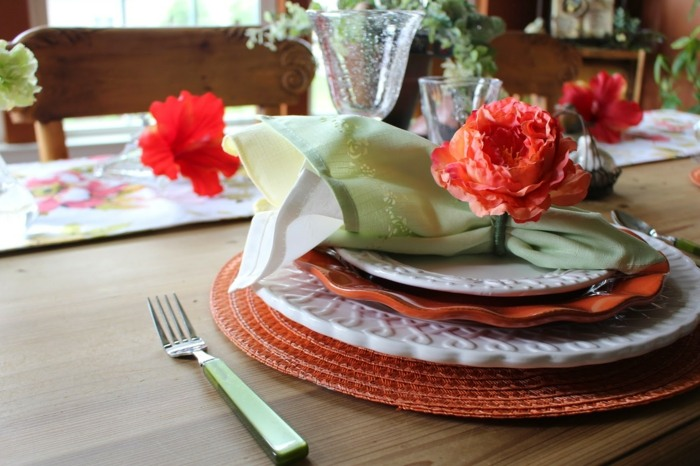 mesa centro primavera flores esparcidas mesa ideas