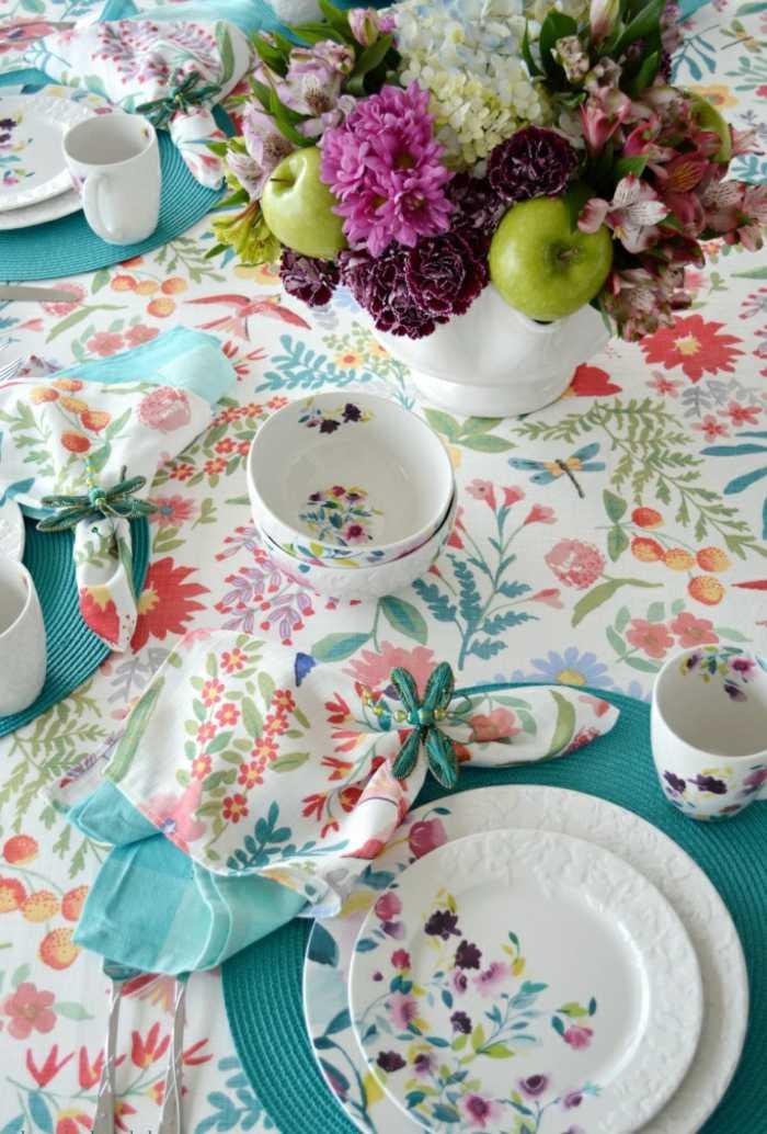 mesa centro primavera flores manzanas ideas