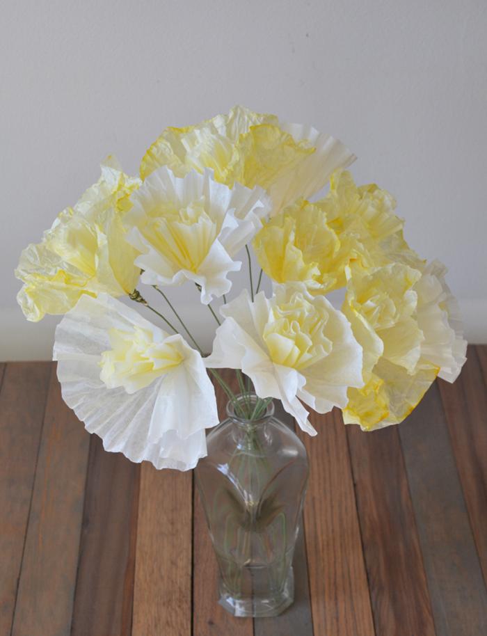 mesa centro primavera flores papel ideas