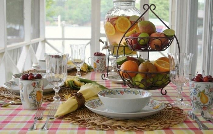 mesa centro primavera frutas tazas estampas ideas