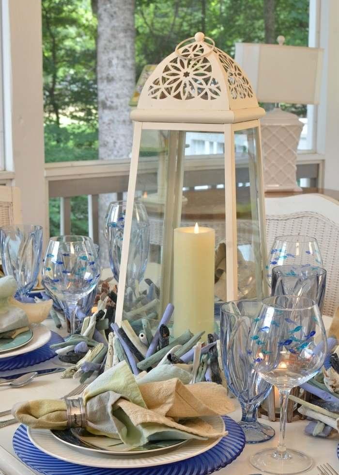 mesa centro primavera linterna blanca ideas
