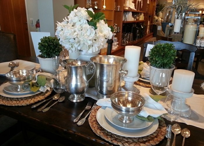 mesa centro primavera macetas blancas ideas