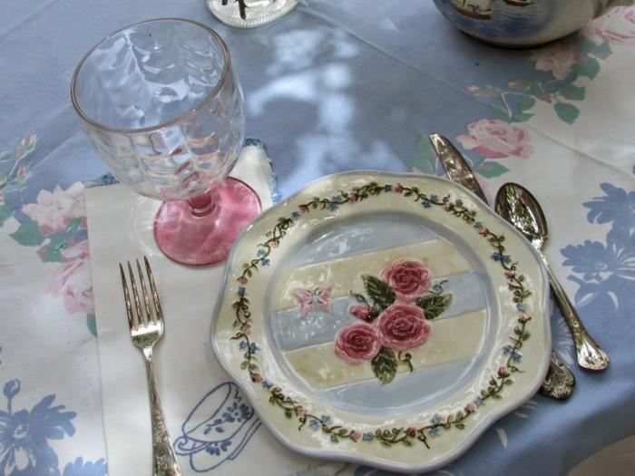 mesa centro primavera plato estampa floral ideas