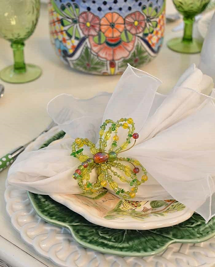 mesa centro primavera platos servilletas mariposa ideas