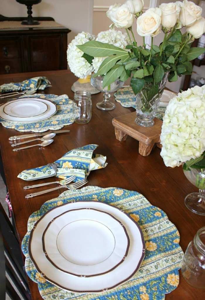 mesa centro primavera rosas blancas ideas