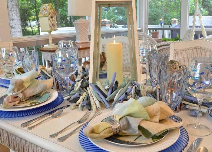mesa centro primavera tema nautico ideas