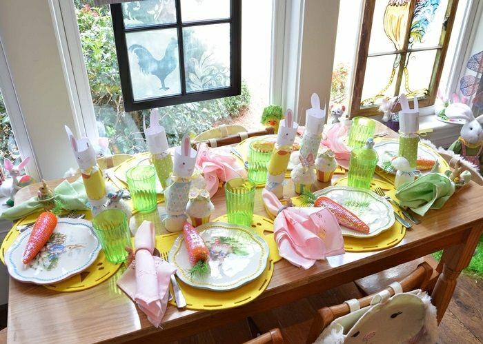 mesa centro primavera vasos colores ideas
