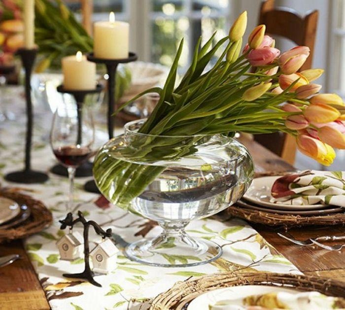 mesa dulce centro primavera camino tulipanes jarron crital ideas