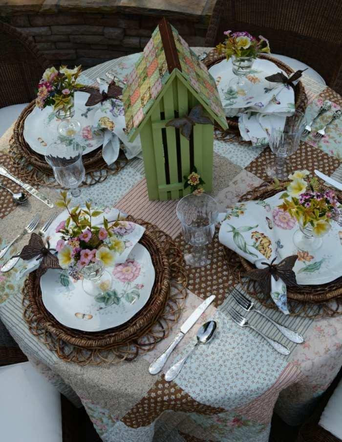 mesa dulce centro primavera casita madera flores ideas