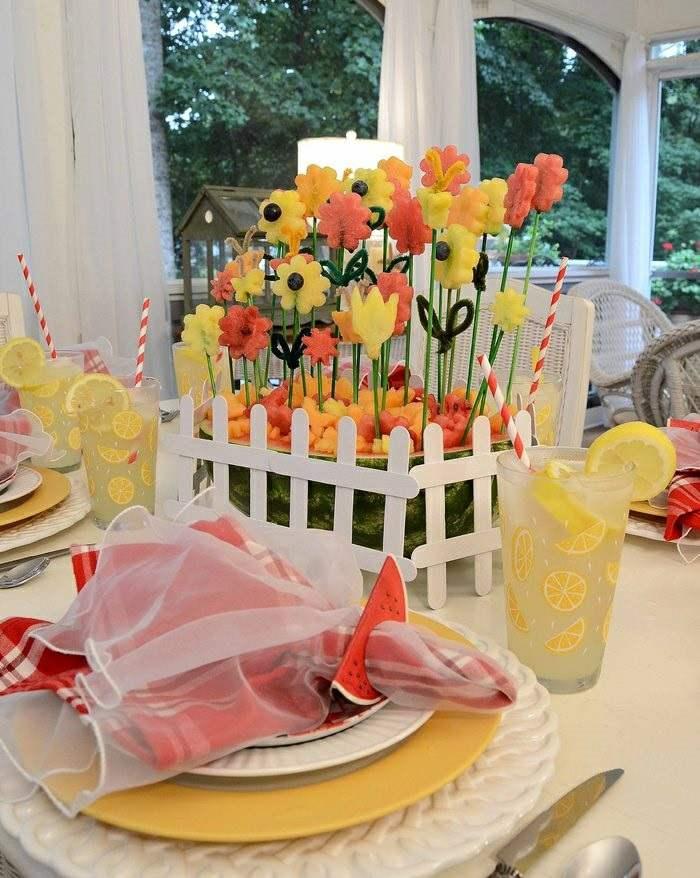 mesa dulce centro primavera flores papel ideas