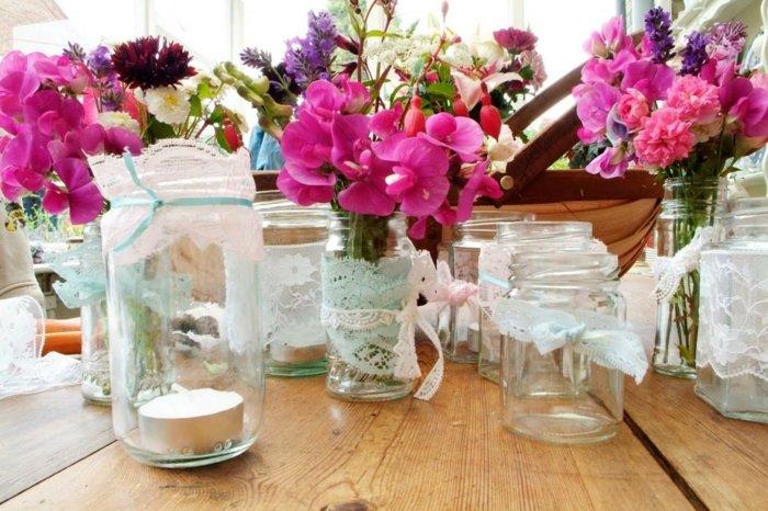 mesa dulce centro primavera hecho tarros tela flores ideas