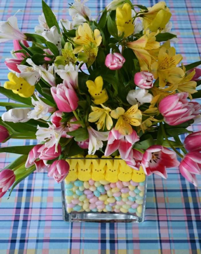 mesa dulce centro primavera jarron caramelos ideas