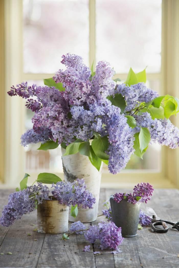 mesa dulce centro primavera syringa madera jarron ideas
