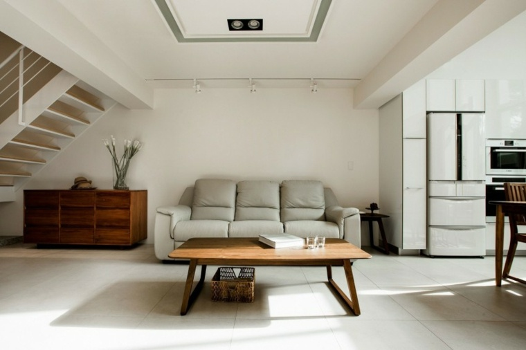 muebles de diseño mesa madera salon sofa blanca ideas