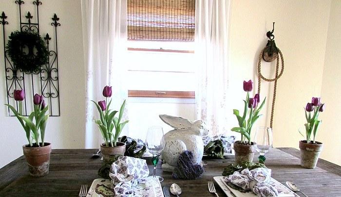 mesa tulipanes decorativos macetas comedor ideas