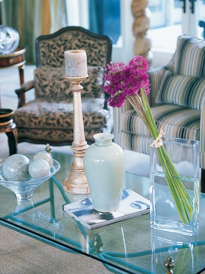mesas de centro cristales flores colores