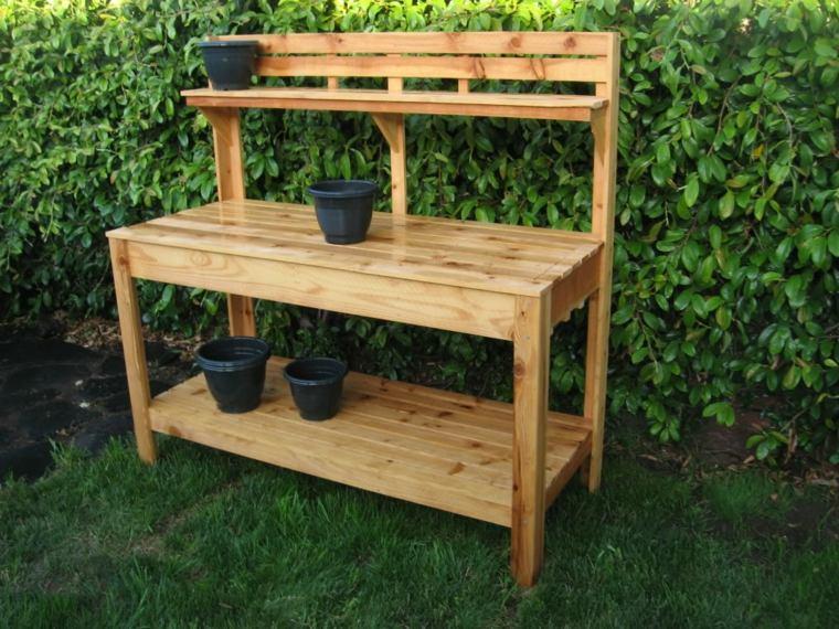 mesilla funcional madera para jardin