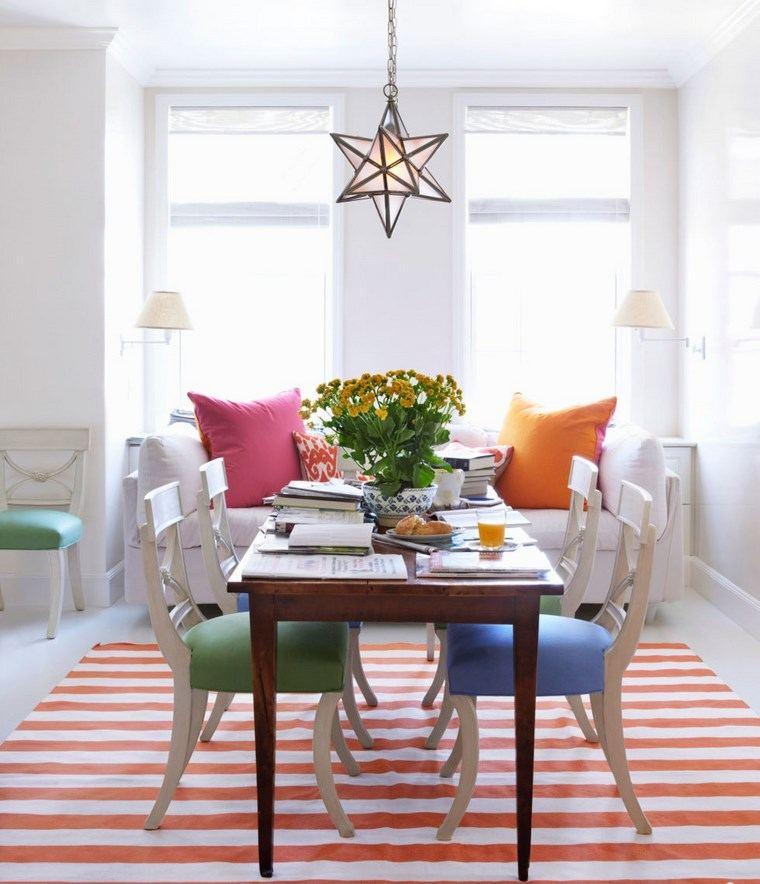 Mezcla de colores vibrantes 60 ideas de comedores vivos - Sillas comedor colores ...