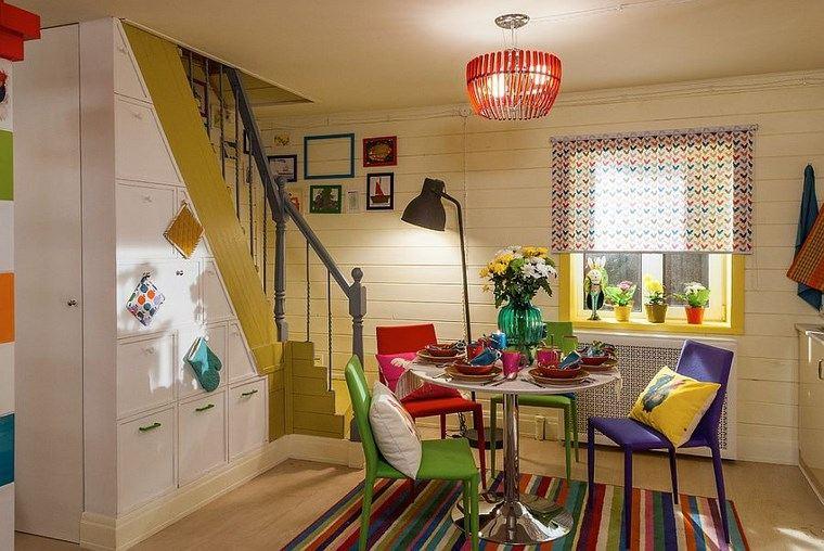 Mezcla de colores vibrantes 60 ideas de comedores vivos Colores pared comedor