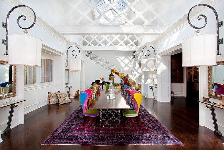 mezcla de colores vivos comedor alfombra vintage ideas