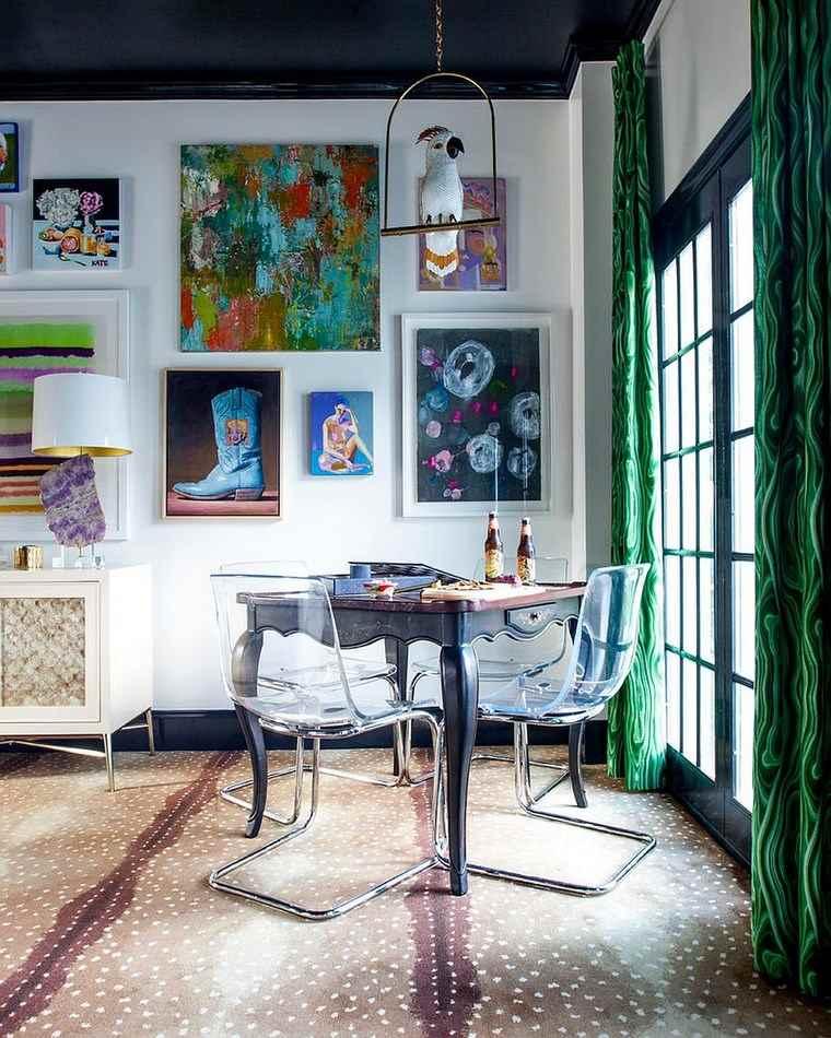 mezcla de colores vivos comedor arte pared ideas